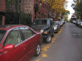 Cars parked along a Beacon Hill street